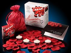 Valentine Amore Romantic Gift Set - Bed of Roses Scented floating silk rose petals and tealight candles #valentines #romantic #gifts