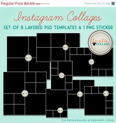 Instagram Layered PSD Collage Templates - 3x4, 4x4, 4x6, and 6x6. $2.50, via Etsy.