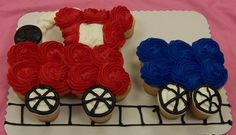 Nolan's 2nd Birthday: Train Cupcake Cake Ideas | Juneberry Lane: Clever Cupcake Cakes!