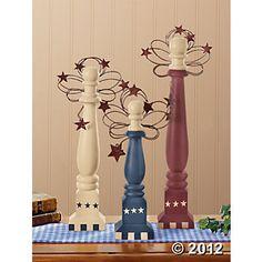 Americana Folk Art Spindle Angels, Patriotic  4th of July Crafts