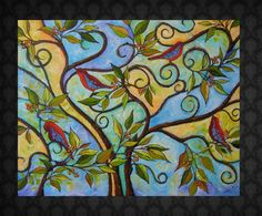 """Abstract Bird Painting """"Singsparation"""" 24x30 by davis818 at etsy.com"""