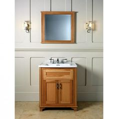 Panelling, decorative lighting, a neutral palette and natural oak:    Imperial Thurlestone 2 Drawer Vanity Unit & Basin