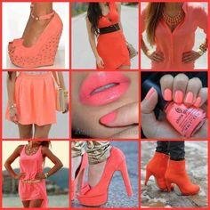 coral, fashion ideas, style, color combos, bag, oranges, summer colors, shoe, lipstick colors
