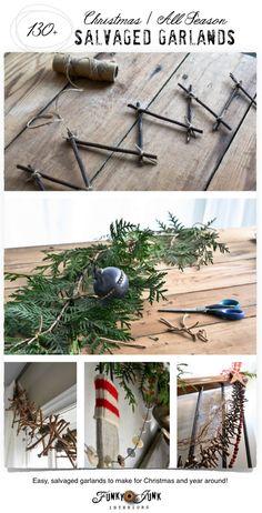 130+ salvaged garlands, Christmas and all season, on FunkyJunkInteriors.net