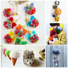 Pom Poms - lots and lots of pom pom ideas and pom pom projects - from cute pom pom animals, to pom poms you can wear and pom poms to decorate with... lots of fun ideas to get you inspired and making LOTS of pom poms!