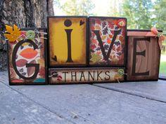 Fall Blocks Wooden Block Set Thanksgiving by KDragonflyDesigns,