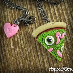 pizza slice, zombi eyebal, zombie fimo, polym clay, polymer clay zombie