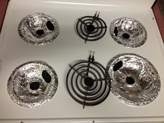 Cover your burner bowls with aluminum foil! Easy way to clean up, and no scrubbing stuff that falls down there!