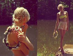 Love. summer styles, flower headband, plait, flower power, kinda style