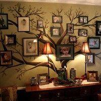 photo display, family trees, famili tree, hous, live room, famili photo, families, decor idea, wall