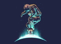 """""""Space Grind"""" - Threadless.com - Best t-shirts in the world space grind, tee shirt designs, digit art, spaceman tee, print design, tshirt design, tee shirts, t shirt designs, t shirts"""