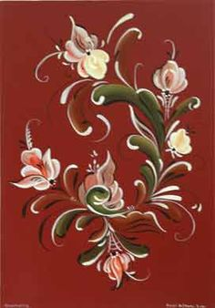 """Norwegian Rosemaling (""""rose painting"""") which flourished in the 18th and 19th centuries, with its bold colours, stylized roses and acanthus scrolls is stroke work painting at its finest. Blended and flowing 'C' and 'S' strokes are used to make up the scrolls, and the design is enhanced with commas, teardrops and fine sweeping strokes. Household objects, walls and ceilings were painted in this style which derives from the elaborate carved scrolls found on Viking longboats. Regional variations d"""