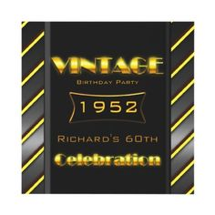 Vintage 60th Gold Black Stripe Birthday Party