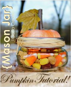 Mason Jar Pumpkin Tutorial ~ These little wide-mouth half-pint mason jars are irresistible as pumpkins. Great for gift-giving throughout the Fall and especially at Thanksgiving, you can fill them with your favorite Fall mix.