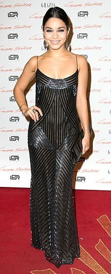 Vanessa Hudgens stunned at the premiere of her latest film in a black dress with Art Deco detailing.