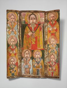 Icon Triptych: Ewost' atéwos and Eight of His Disciples, late 17th century. Ethiopia, North of Gojjam province. The Metropolitan Museum of Art, New York. Louis V. Bell Fund, 2006 (2006.98) #mustache #movember
