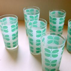 FROSTED MINT VINTAGE Mid Century Drinking Glasses