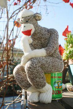 this year's xmas monkey handmade by my mister. the sock thinker. jessica wilson.