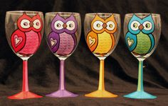 Hand Painted Wine Glasses by CRSCraftCorner on Etsy