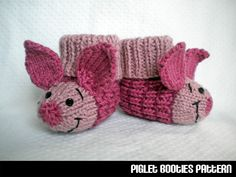 Piglet Baby Booties Knitting Pattern