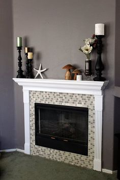 Fireplace Remodel - like the dark grey wall  I still think this would be great at my place.....