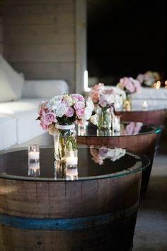Wine Barrel Wedding Decor | wine barrel end tables