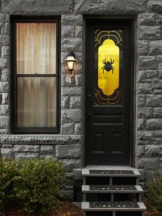 24 Halloween Door Decorations: Great Wreaths and Entry Accents  Welcome trick-or-treaters or party guests this Halloween with front door accents that cast just the right spell. Our ideas for wreaths, door decorations, and entryway accents are sure to give your porch spook-tastic flair for Halloween.