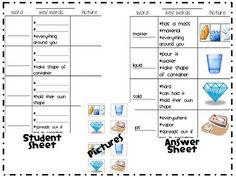 After reading a book about matter to our first graders, we completed a vocabulary building activity. When we introduce new vocabulary to our kiddos we usually complete a worksheet like the one below. Our first graders put these worksheets in their writing binders and refer to them when needed. worksheet