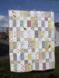 square and stripe patchwork quilt