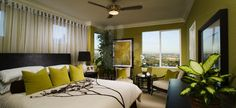Guest bedroom idea; great use of green