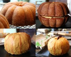 Two bundt cakes stacked on top of each other + orange frosting = pumpkin cake. Cool to do for Thanksgiving family potluck.