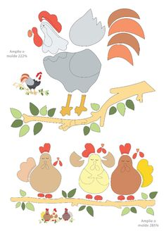 4 of 4 chicken appliqué pattern, appliqué, em patchwork, rooster, risco, aplicaçõ em