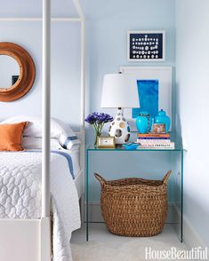 bedroom decorations, bedsid tabl, traditional bedroom blue, blue bedrooms, master bedrooms, hous, bedside tables, laundry baskets