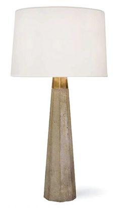 concrete + brass table lamp.