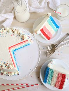 Red, White and Blue Ombré Layer Cake. #4th_July #cakes #dessert
