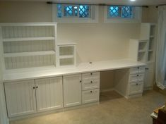 built in home office desk - love this idea for the whole computer wall.... But to the ceiling shelves so it appears built in.