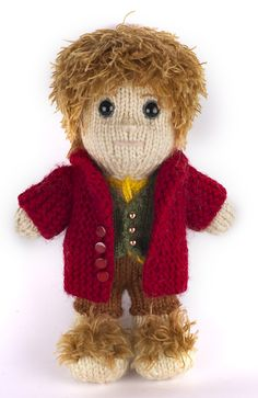 Knitted Bilbo Baggins by Kat Bifield, maker of the fantastic Sherlock and Watson knitted dolls.