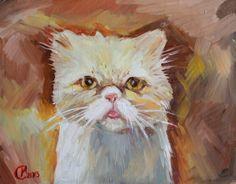 """""""Peach"""" Lana Marandina Krivoy Rog, Ukraine  #cat #catart #cats #art #illustration #painting"""