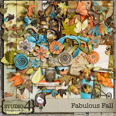 Digital Scrapbooking Studio Fabulous Fall - Fabulous Fall is full of colour - transitioning bright bright summer colours to the oranges, browns of greens of all. You can scrap outdoor pictures, but it's also suitable for family photos as well. The main kit contains 16 papers and 48 Elements - all created at the highest quality