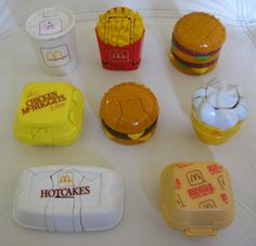Vintage 80's McDonalds Fast Food Transformers Toys Lot Chicken McNuggets Big Mac Hotcakes French fries