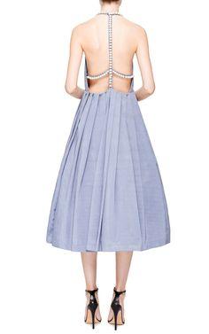 Grey Backless Midi Dress With Pearl Embellishment by Natasha Zinko for Preorder on Moda Operandi