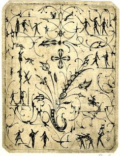 Grotesque panel, blackwork with small silhouetted figures, bandwork, foliage and flowers. Designed and engraved by Matthias Beutler (Beitler), 1600.