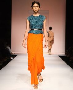 Flame Orange & Teal Gown- Buy Dresses,Soup By Sougat Paul - Lakme '14 Online | Exclusively.in