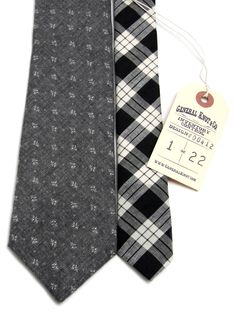 General Knot & Co - Mini Floral Grey Heather & Check Necktie