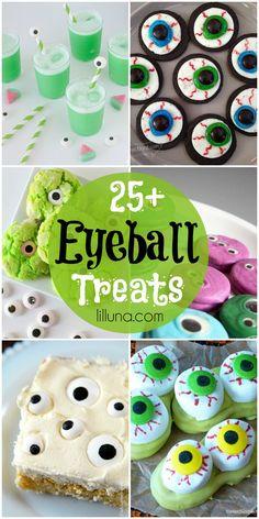 25+ Eyeball Treats - lots of spooky (and TASTY) Halloween eyeball treats! { lilluna.com }