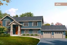 If you've got a raised ranch, you have to see how a more interesting roofline and an upgraded entry can improve your home's profile, as seen in this Photoshop Redo. | Illustration: Drawgate Inc. | thisoldhouse.com