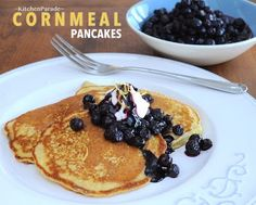 Cornmeal Pancakes with Blueberry Compote & Sour Cream