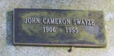 Grave Marker- John Cameron Swayze, news anchor (NBC). He is interred at the Round Hill Community Cemetery, in Greenwich, Connecticut. (More go to: http://www.thefuneralsource.org/deathiversary/august/15.html)