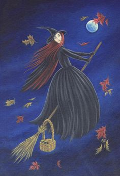 witch fly by on an autumn night
