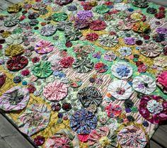 Heirloom Lap Quilt - Blooming Poppy Yo-Yo's - Textile Art..
